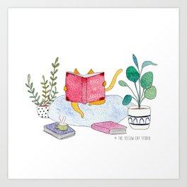 Reading cat - watercolor Art Print