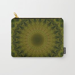 Floral Mandala in green and olive tones Carry-All Pouch