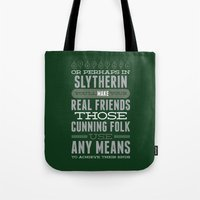 slytherin Tote Bags featuring Slytherin by Dorothy Leigh