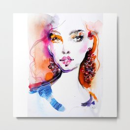 Bright colors beauty fashion illustration Metal Print