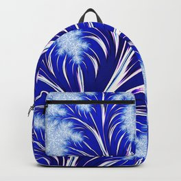 Abstract Blue Christmas Tree Branch with White Snowflakes Backpack