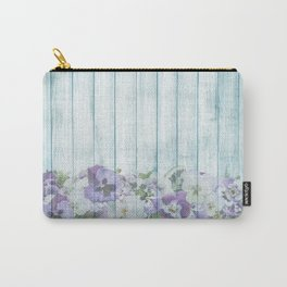 Romantic Vintage Shabby Chic Floral Wood Blue Carry-All Pouch