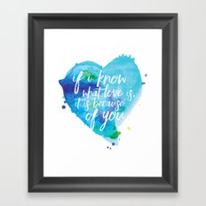 If I know what love is... Framed Art Print