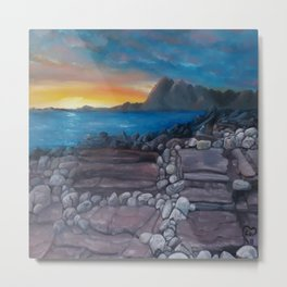 Sunset at Elgol Beach, Fantastic Modern Oil Painting on Canvas, Landscape by Luna Smith Metal Print