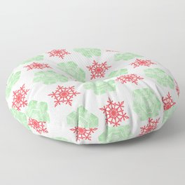 Red and green snowflackes pattern Floor Pillow
