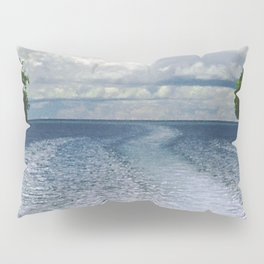 Dramatic Boat Wake to the Horizon and Clouds Pillow Sham