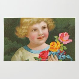 Child with roses | Kind mit Rosenstrauss Rug