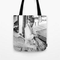 korean Tote Bags featuring Korean Traditional Craftsman by Jennifer Stinson