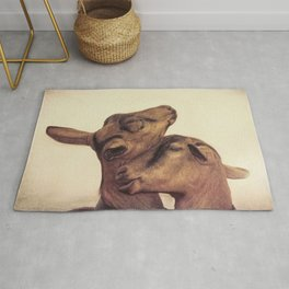 two goat in the farm Rug