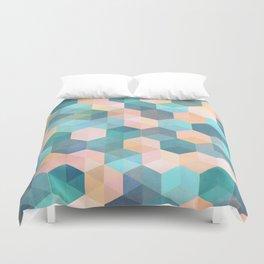 Child's Play 2 - hexagon pattern in soft blue, pink, peach & aqua Duvet Cover
