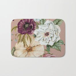 Colorful Wildflower Bouquet on Pink Bath Mat