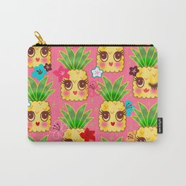 Happy Kawaii Cute Pineapples on Pink Carry-All Pouch