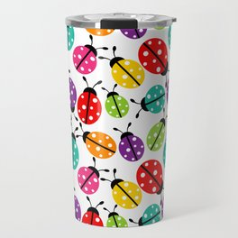 Lots of Crayon Colored Ladybugs Travel Mug
