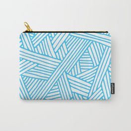 Abstract Teal & white Lines and Triangles Pattern-Mix and Match with Simplicity of Life Carry-All Pouch