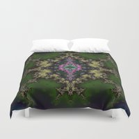hexagon Duvet Covers featuring Fractal Hexagon by Harvey Warwick