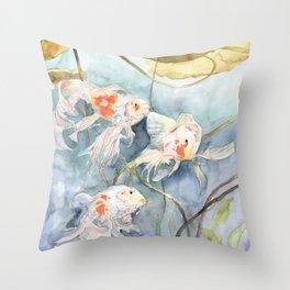 Koi Fish Painting, Underwater Water Lily Throw Pillow