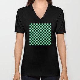 Mint Green and Black Check Pattern Unisex V-Neck