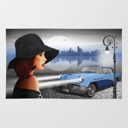 The beauty at night with vintage car Rug