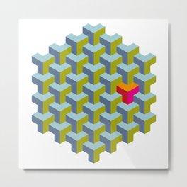 Be yourself - geomtric op art pattern Metal Print