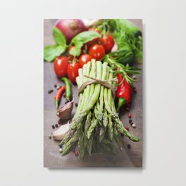 Fresh green asparagus bunch and vegetables on wooden board Metal Print