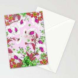 Elegant white Sunflowers and Pink floral garland Stationery Cards