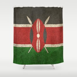Old and Worn Distressed Vintage Flag of Kenya Shower Curtain