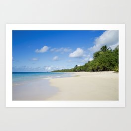 Sandy Beach of Caribbean Island Art Print