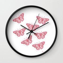 Linocut Junonia Coenia butterflies pattern Wall Clock