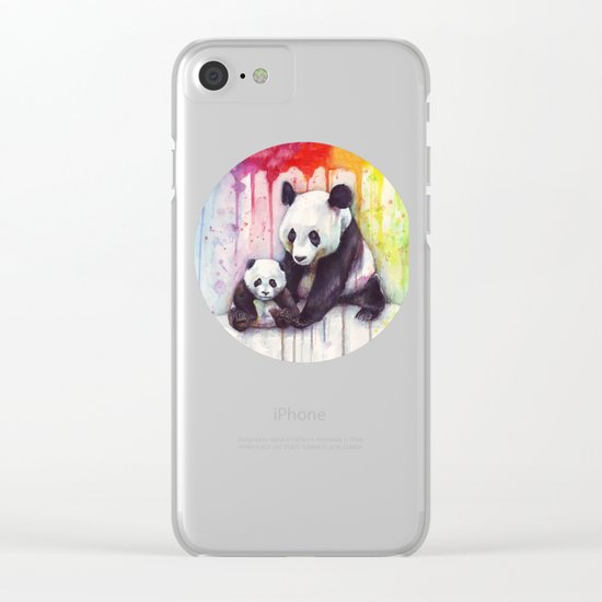 Pandas and Rainbow Watercolor Mom and Baby Panda Nursery Animals Clear iPhone Case