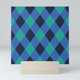 Green and blue checkered Mini Art Print