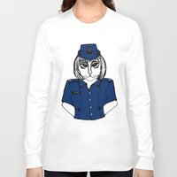 police Long Sleeve T-shirts featuring Police Kitty by Sofy Rahman