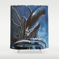 alien Shower Curtains featuring Alien by Tom C Carlton