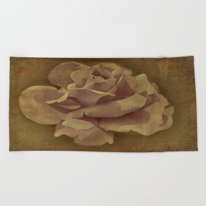 Painterly Vintage Antique Rose Beach Towel