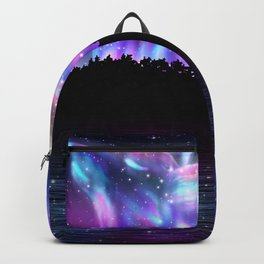 Northern landscape with howling wolf spirit and aurora borealis Backpack