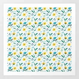 Summer flowers in yellow and blue in white background Art Print
