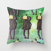 katamari Throw Pillows featuring Katamari Cousins - Dipp by cakeisforrobots