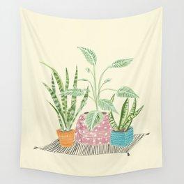 Three Plant Friends Wall Tapestry