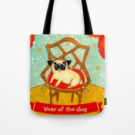 Chinese New Year Happy Year of the Dog pug celebration painting Tote Bag