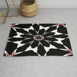 Bizarre Red Black and White Pattern 4 Rug