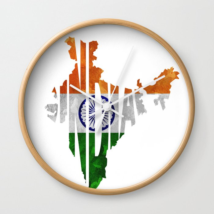 India World Map Indian Typography Flag Map Art Wall Clock by