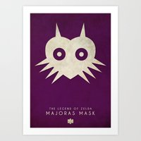 majoras mask Art Prints featuring The Legend of Zelda: Majoras Mask- Nintendo 64 Minimalist by timmyb
