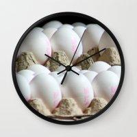 eggs Wall Clocks featuring EGGS by Avigur
