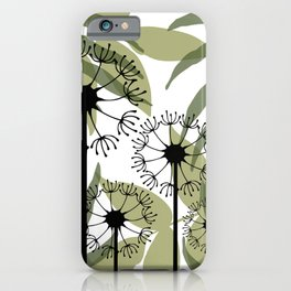 Mixed Leaves with Dandelions Flowers green white iPhone Case