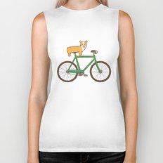 Corgi on a bike Biker Tank