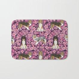 Shetland sheepdog sheltie cherry blossom floral flowers florals dog breed dogs Bath Mat