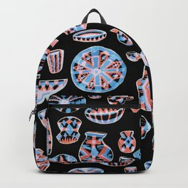 Pastel Neon Pottery on Black Backpack