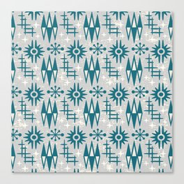 Mid Century Modern Atomic Space Age Pattern Grey Green Canvas Print