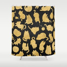 Gold on Black Kitty Pattern Shower Curtain