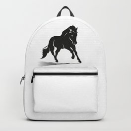 Black silhouette of a running horse Backpack