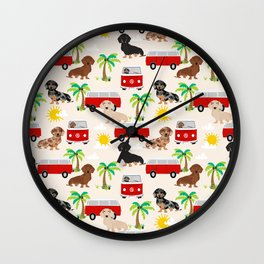 Dachshund Beach day palm tree summer dog cute dog pillow dog blanket beach towel Wall Clock
